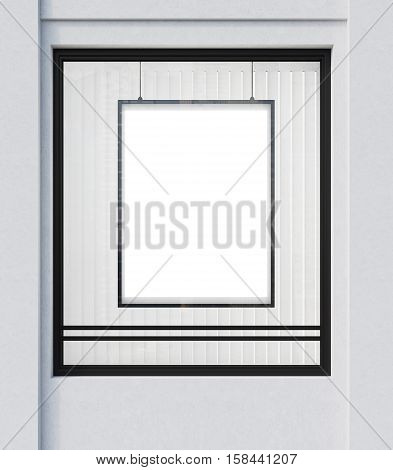 Shop window with a vertical framed poster in it. Concept of advertising and goods promotion. 3d rendering. Mock up