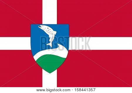 Flag of Ringkobing-Skjern in Central Jutland Region in Denmark