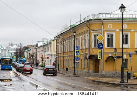 RUSSIA MOSCOW - NOVEMBER 08 2016: View of old Pokrovka street in autumn. Most of the buildings on the Pokrovka street of Moscow refers to the XIX - early XX century.