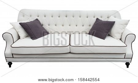 White sofa with pillows. Soft white couch. Isolated background. White classic divan