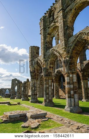 Whitby, UK - May 11, 2011: Whitby Abbey in North Yorkshire in the UK. It is ruins of the Benedictine abbey. Now it is under protection of the English Heritage.