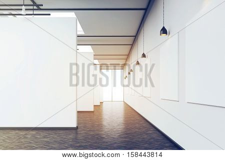 Long Corridor In Art Gallery With Dark Wood Floor, Toned
