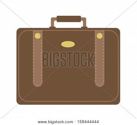 Business suitcase icon flat style. Portmanteau isolated on a white background. Vector illustration