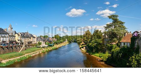 The town of Montignac at the shore of Vezere River in Dordogne-Perigord France