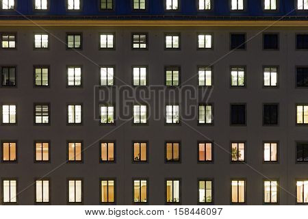 illuminated windows in a facade of a goverment building in Vienna first district