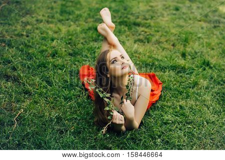Pretty Girl On Green Grass