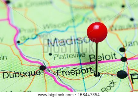 Freeport pinned on a map of Illinois, USA