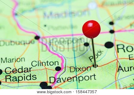 Dixon pinned on a map of Illinois, USA