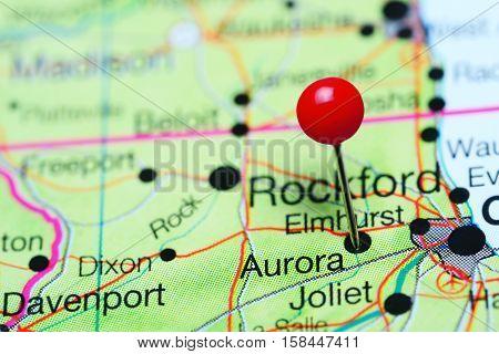 Aurora pinned on a map of Illinois, USA