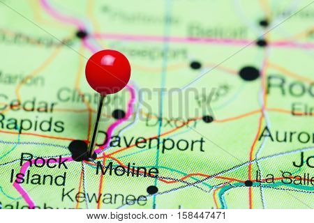Moline pinned on a map of Illinois, USA