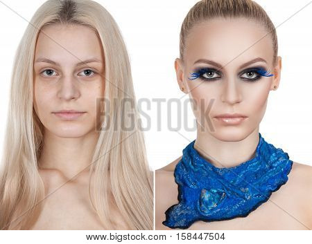 Beautiful Girl Makeup Before After. Two Photos. The Beauty Of The Classic Makeup.