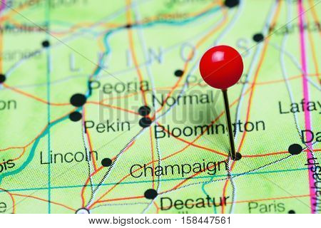 Champaign pinned on a map of Illinois, USA