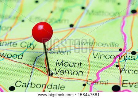 Mount Vernon pinned on a map of Illinois, USA