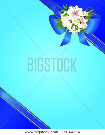 Bouquet of beautiful flowers growing on a blue background with a decorative frame