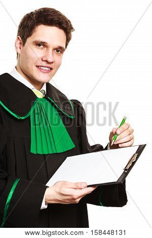 Career and legal advice. Young male lawyer hold clipboard files. rite point with pen show advice and help.