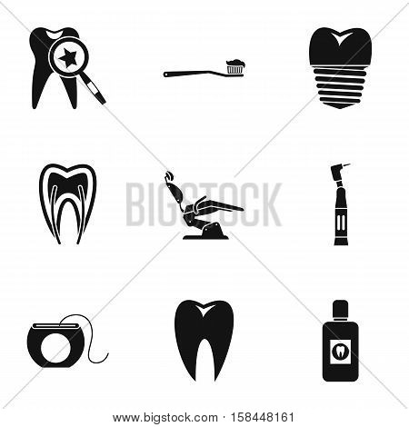 Dental clinic icons set. Simple illustration of 9 dental clinic vector icons for web