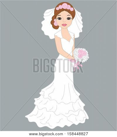 Vector bride in white dress and veil with bouquet