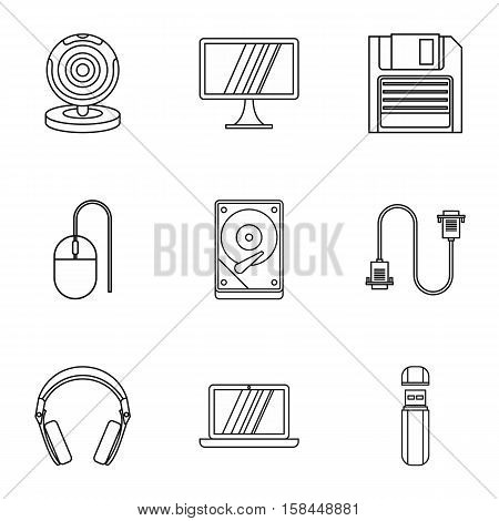 Computer protection icons set. Outline illustration of 9 computer protection vector icons for web