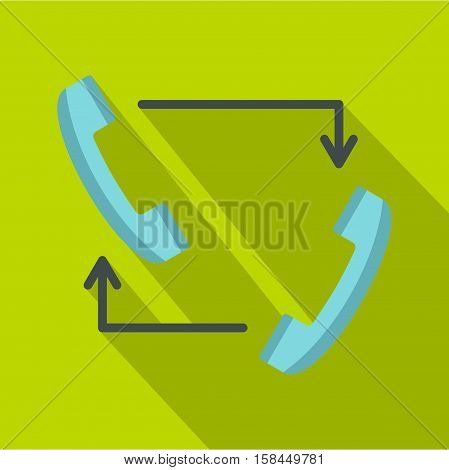 Blue handsets with arrows icon. Flat illustration of handsets with arrows vector icon for web isolated on lime background