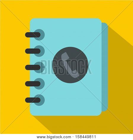 Blue address book icon. Flat illustration of address book vector icon for web isolated on yellow background