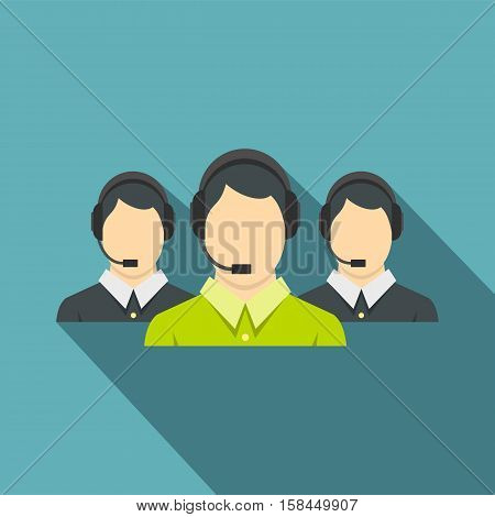 Three support phone operators icon. Flat illustration of three support phone operators vector icon for web isolated on baby blue background