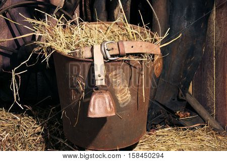 Cowbell sitting in an antique pail full of hay.