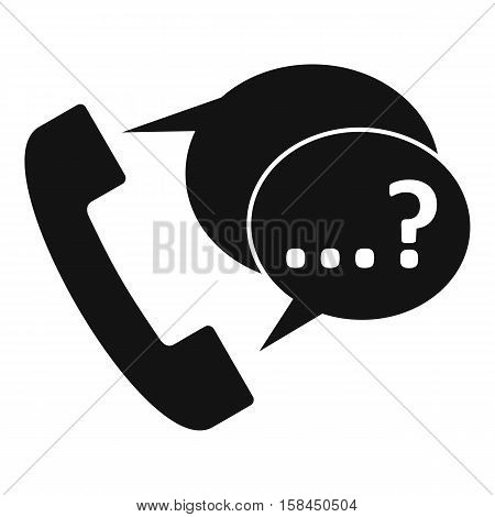Phone sign and support speech bubbles sign icon. Simple illustration of phone sign and support speech bubbles vector icon for web
