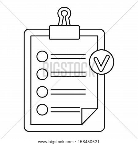 Check list on a clipboard icon. Outline illustration of check list on a clipboard vector icon for web