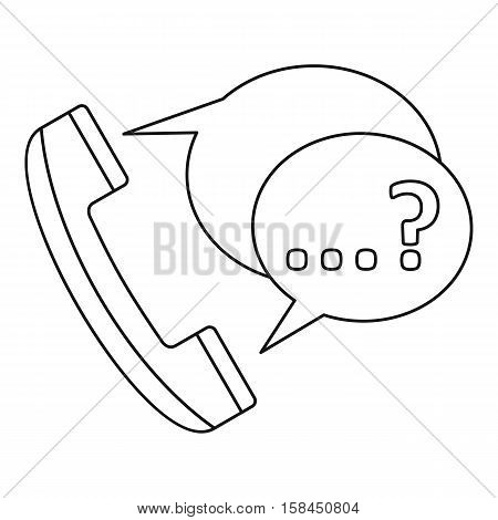 Handset with speech bubbles icon. Outline illustration of handset with speech bubbles vector icon for web