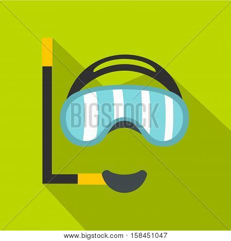 Diving mask icon. Flat illustration of diving mask vector icon for web isolated on lime background