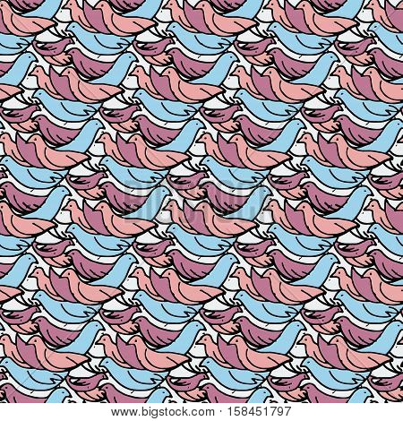 stylized abstract messy seamless pattern made of many birds