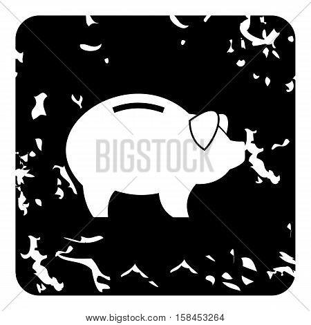 Pig money box icon. Grunge illustration of pig money box vector icon for web design