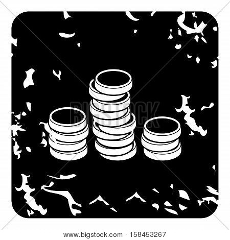 Coins icon. Grunge illustration of coins vector icon for web design