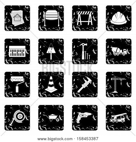 Architecture set icons in grunge style isolated on white background. Vector illustration