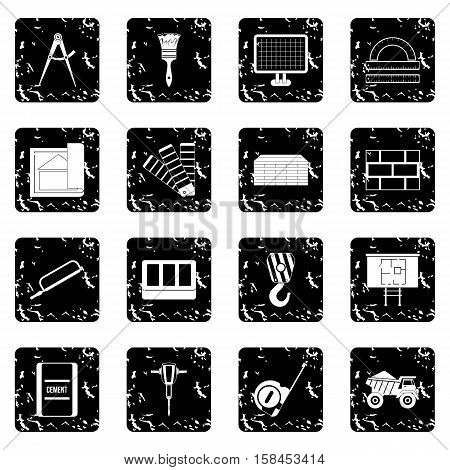 Construction set icons in grunge style isolated on white background. Vector illustration