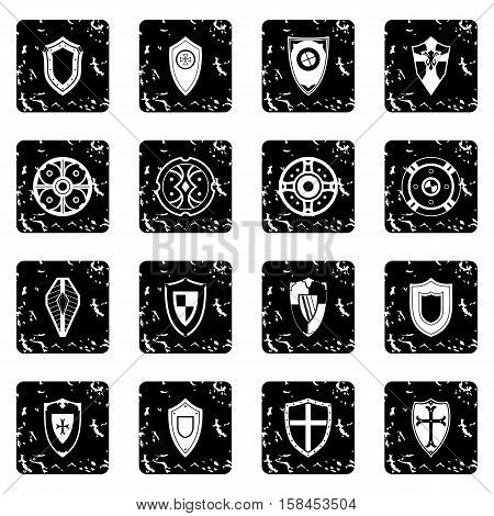 Shields set icons in grunge style isolated on white background. Vector illustration