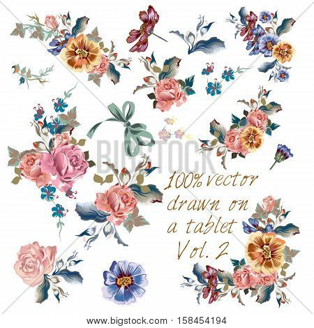 Big collection of vector hand drawn flowers in watercolor classic style