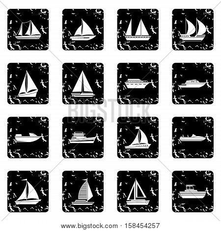Boat and ship set icons in grunge style isolated on white background. Vector illustration