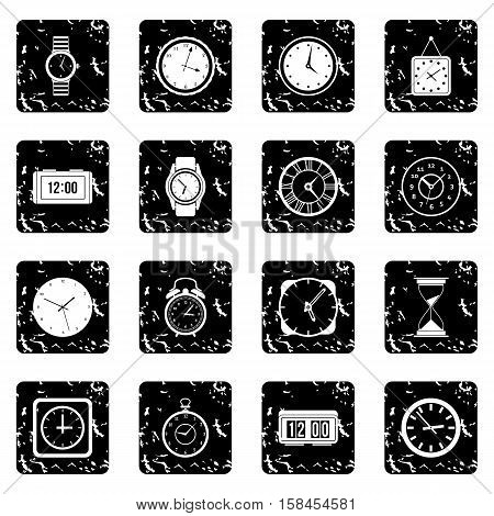 Time and Clock set icons in grunge style isolated on white background. Vector illustration