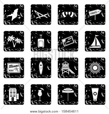 Miami set icons in grunge style isolated on white background. Vector illustration