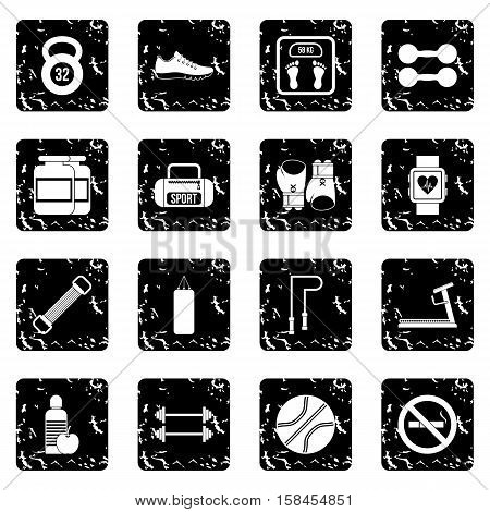 Gym set icons in grunge style isolated on white background. Vector illustration