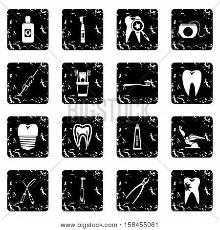 Dental care set icons in grunge style isolated on white background. Vector illustration