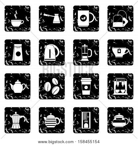 Tea set icons in grunge style isolated on white background. Vector illustration
