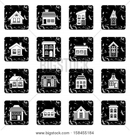House set icons in grunge style isolated on white background. Vector illustration