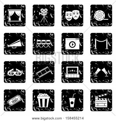 Cinema set icons in grunge style isolated on white background. Vector illustration