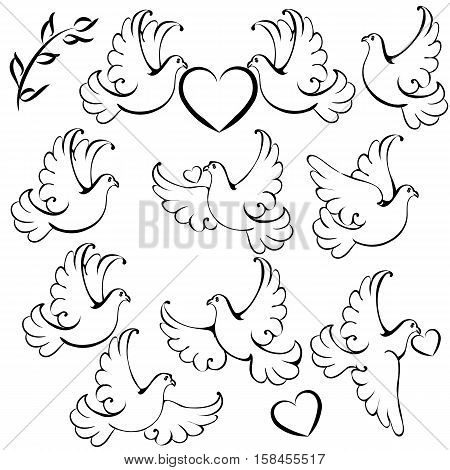 Collection of vector dove silhoettes with hearts for design