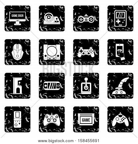 Video game set icons in grunge style isolated on white background. Vector illustration