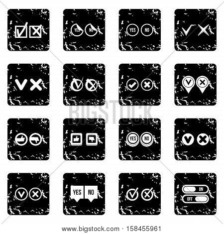 Check mark set icons in grunge style isolated on white background. Vector illustration