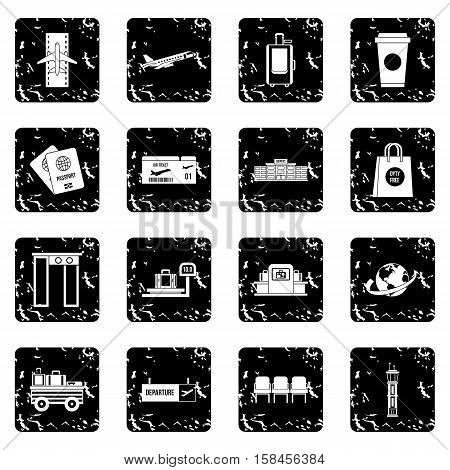 Airport icons set icons in grunge style isolated on white background. Vector illustration