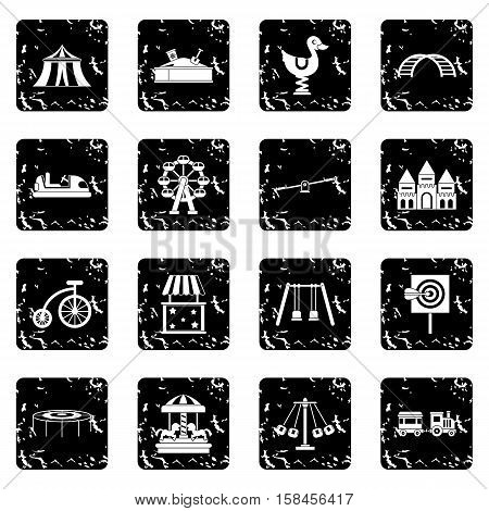 Amusement park icons set icons in grunge style isolated on white background. Vector illustration